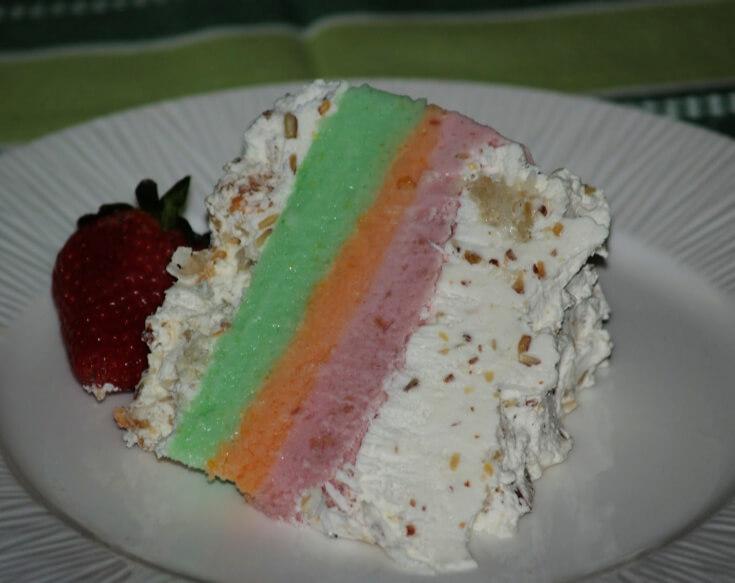 Rainbow Sherbet Cake Dessert Piece