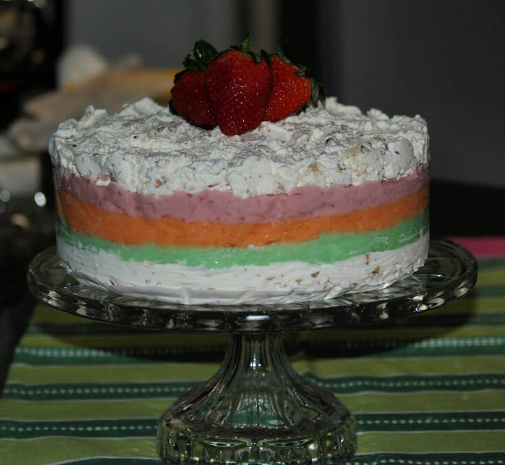 Rainbow Sherbet Cake Dessert