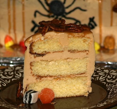 Caramel Cake Recipe with Caramel Frosting and Caramel Pecan Garnishes