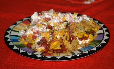 Layered Mexican Cornbread Salad Recipe