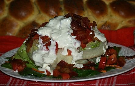 Lettuce Wedge with Feta or Blue Cheese Dressing