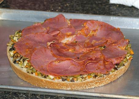 Assembling a Muffaletta Sandwich