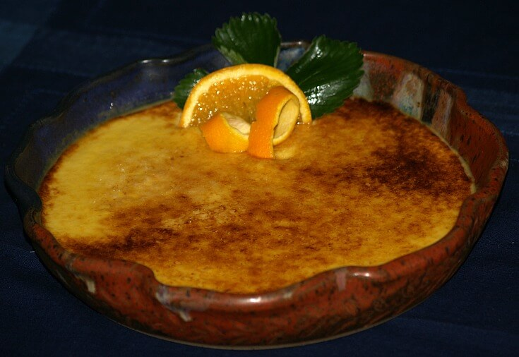 Orange Creme Brulee in Baking Dish