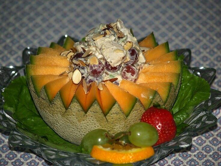 Chicken oriental Salad Serve in Melon Rings