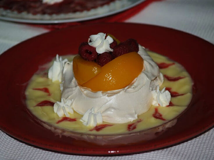 Peach Melba with Buttermilk Custard
