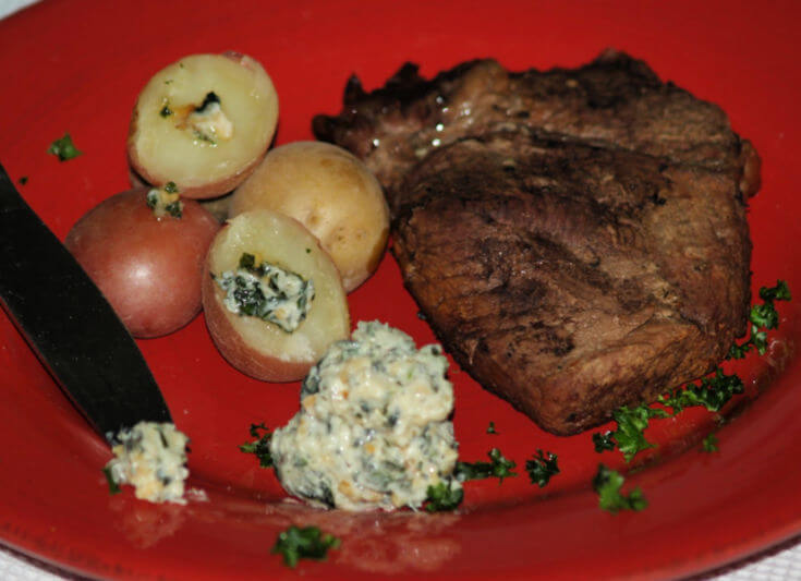 Pine Nut Basil Butter Served with Beef and Roasted Potatoes