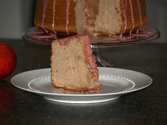 cut piece of pomegranate sponge cake