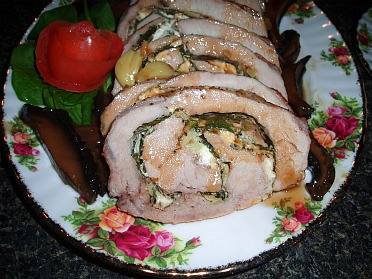 Roasted Rolled Pork Roast Stuffed with Feta Cheese and Spinach
