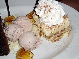 Italian tiramisu and gelato