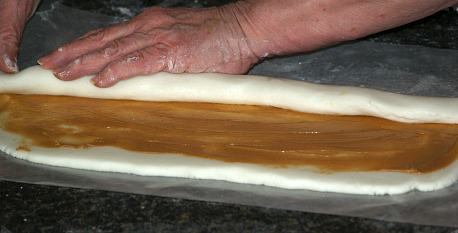 Rolling Up Potato Candy Dough