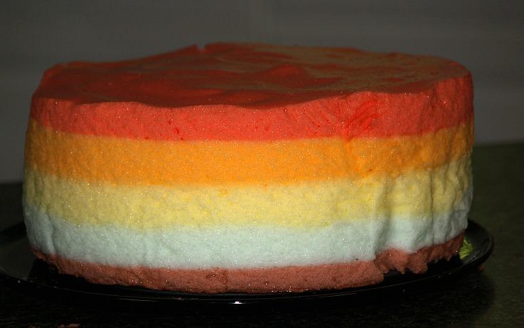 Unfrosted Rainbow Gelatin Cake