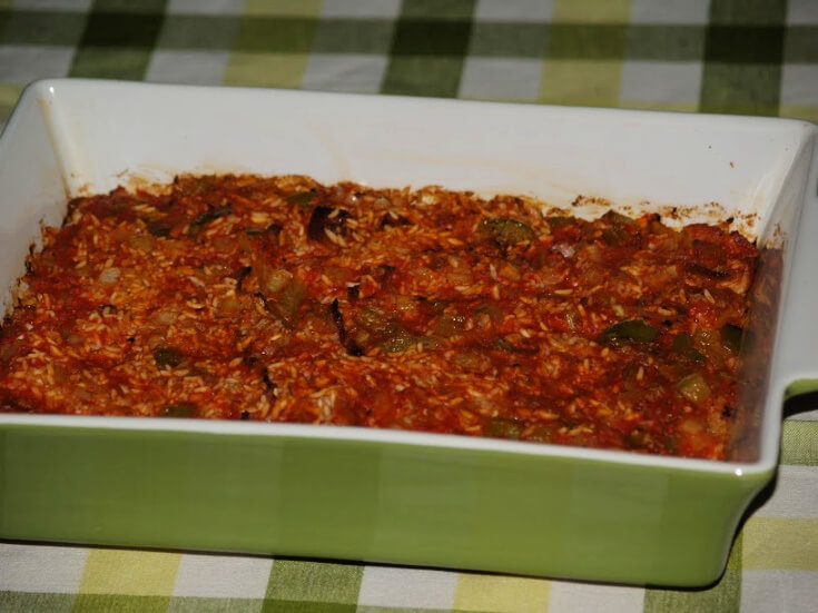 Red Rice Recipe in a Casserole Dish