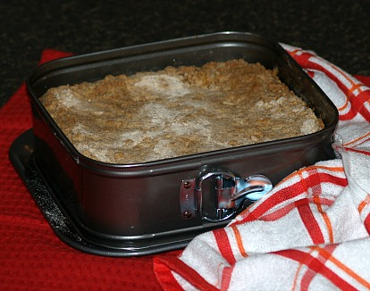 Ricotta Crumb Cake Recipe Baked in a Square Spring Form Pan