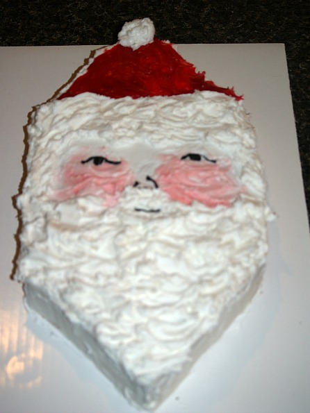 santa clause cake made from a jam cake recipe