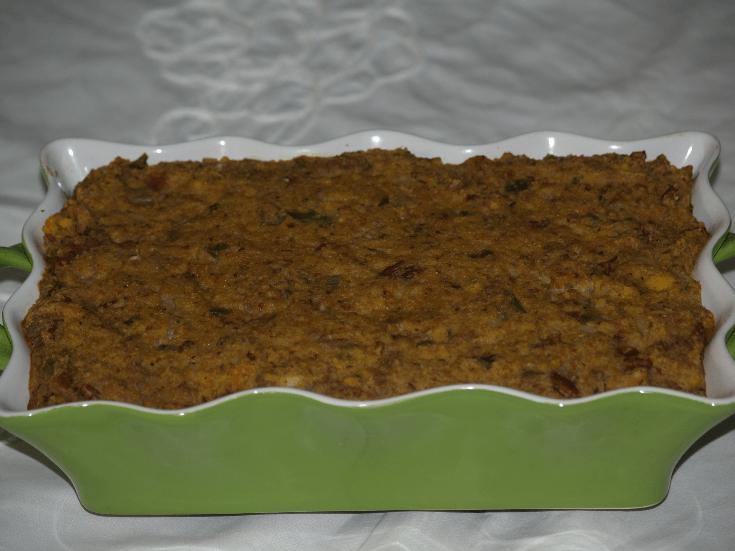 Sausage Cornbread Pecan Dressing Recipe in Baking Dish