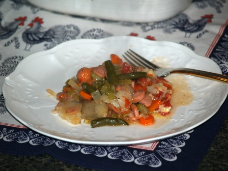A Serving of Hot Dog Veggie Casserole