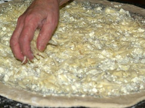 Layer Dough with Mozzarella Cheese
