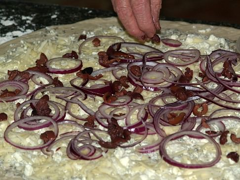 Layer Dough with Onions and Kalamata Olives