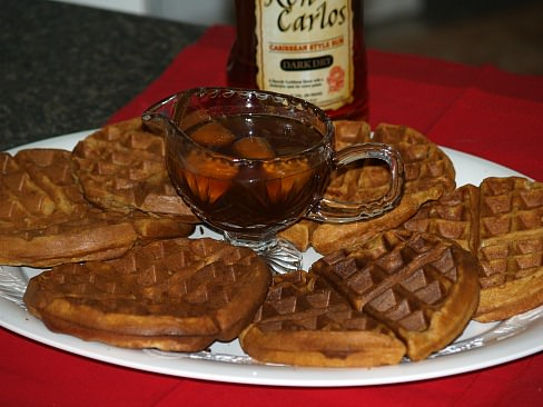 Sweet Potato Pecan Waffles with Butter Rum Syrup