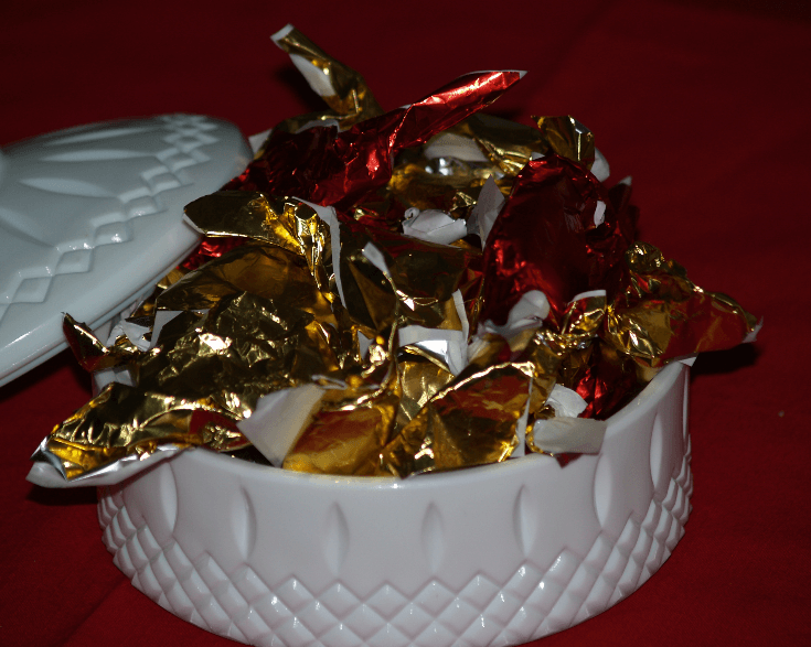 Taffy Peppermint Candy in a Dish