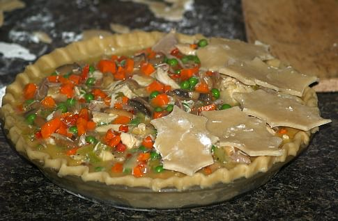 Adding the Top Crust to the Turkey Pot Pie