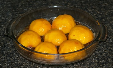 Arrange Peach Halves Over Brown Sugar