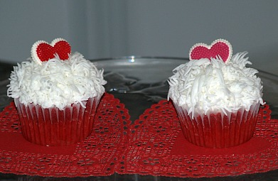 red velvet cupcakes decorated for valentines day
