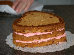 strawberry cake with strawberry cream filling