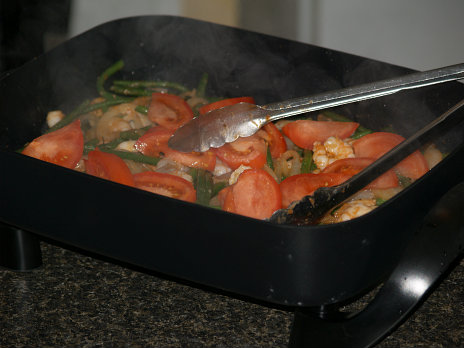 Cooking Green Beans and Shrimp