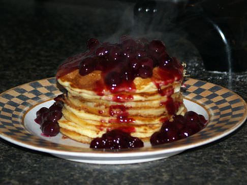 Basic Pancakes using a Pancake Mix Recipe with Blueberry Topping