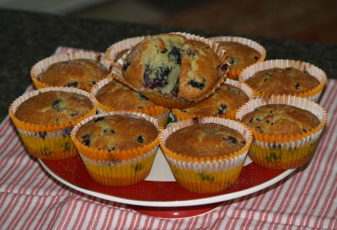 Blueberry Muffins Topped with Butter, Cinnamon and Sugar