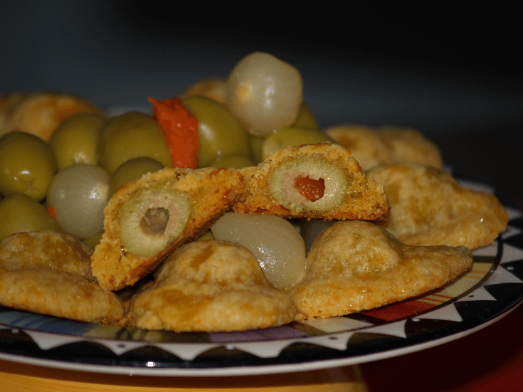 Cheese and Olive Hats Appetizer