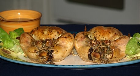 roast chicken stuffed with a mushroom stuffing