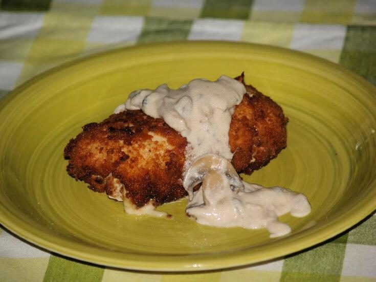 Chicken Cordon Bleu Recipe with a Mushroom Sauce