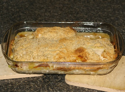 Casserole dish filled with Chicken Cordon Bleu Recipe