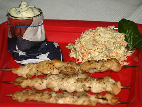 Chicken Kabobs Served with Jalapeno Sauce