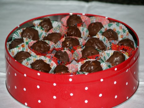 Chocolate Covered Cherries Stored in a Tin Can
