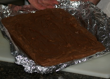 Chocolate Peanut Butter Fudge in Removing Foil