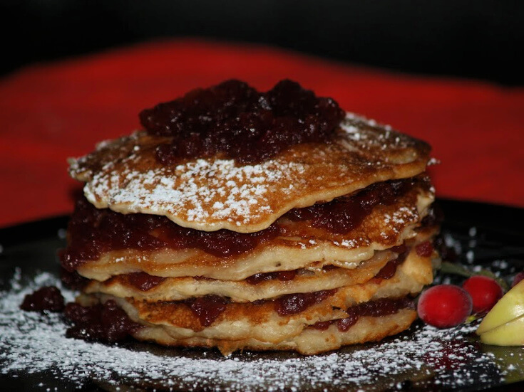 Cranberry Apple Stack Pancakes