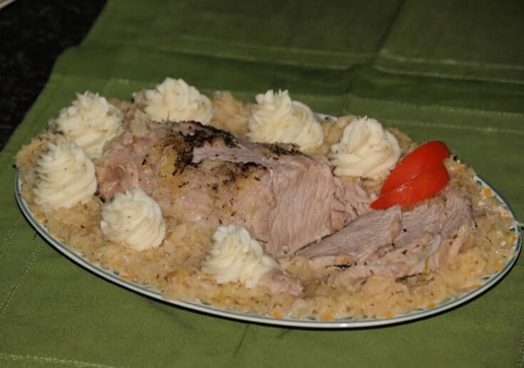 Crock Pot Pork Loin and Sauerkraut with Mashed Potatoes