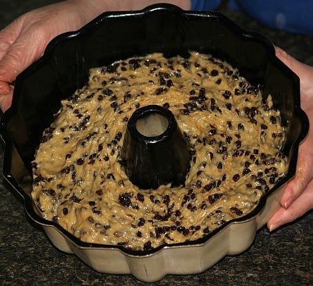 Currant Cake Batter in Bundt Pan
