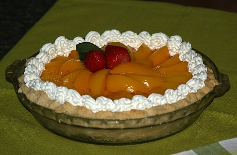 Cheese Pie Recipe topped with Peaches and Strawberries
