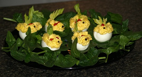 Easter Chicks made from Deviled Eggs