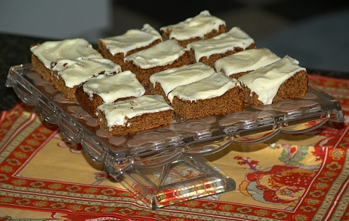 Ginger Bars Frosted with a Lemon Frosting