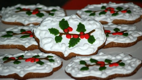 Gingerbread Cookies Decorated with Holly