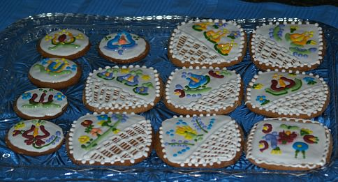 Gingerbread Cookies Cut into Squares and Circles