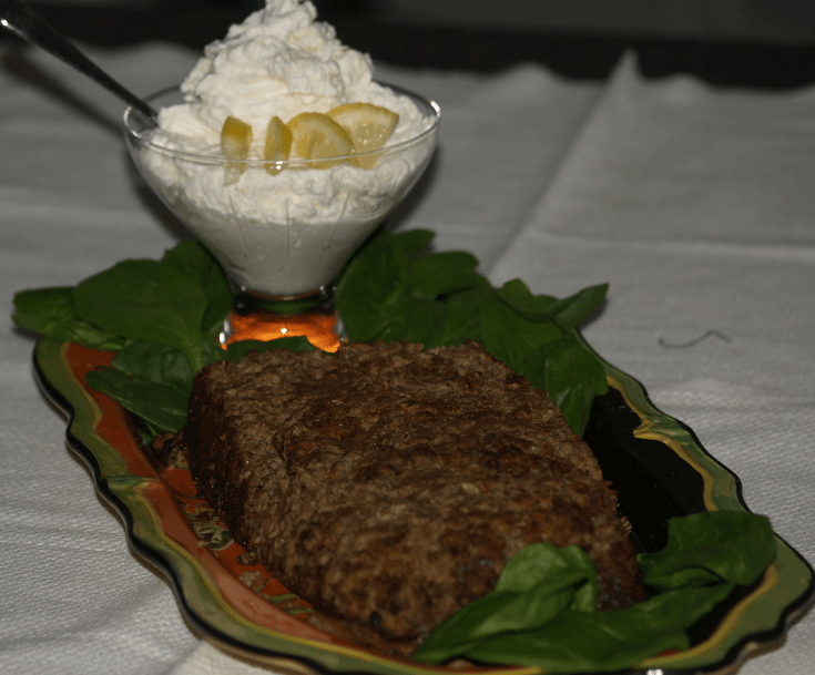 Beef Liver in a Loaf Serve with a Horseradish Cream Sauce