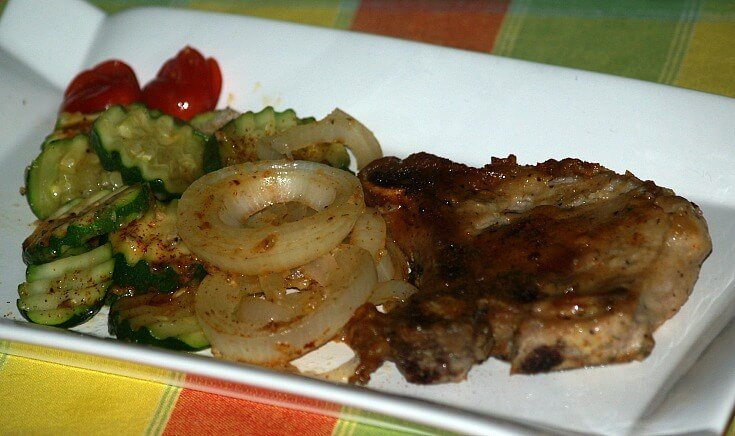 Fried Pork Chops with Onions and Zucchini