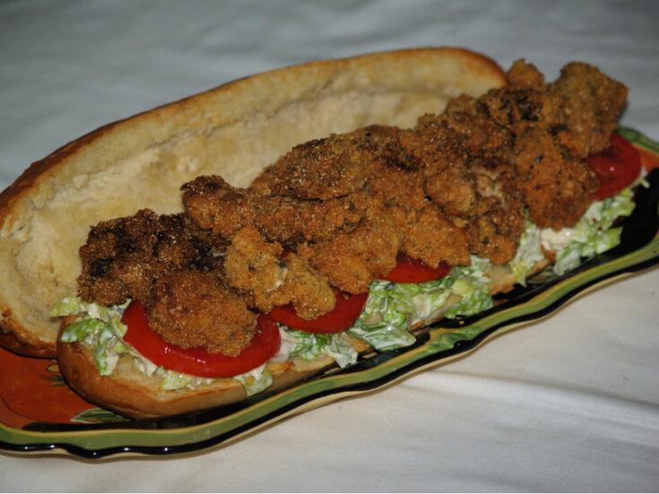 Fried Oyster Po Boy Sandwich