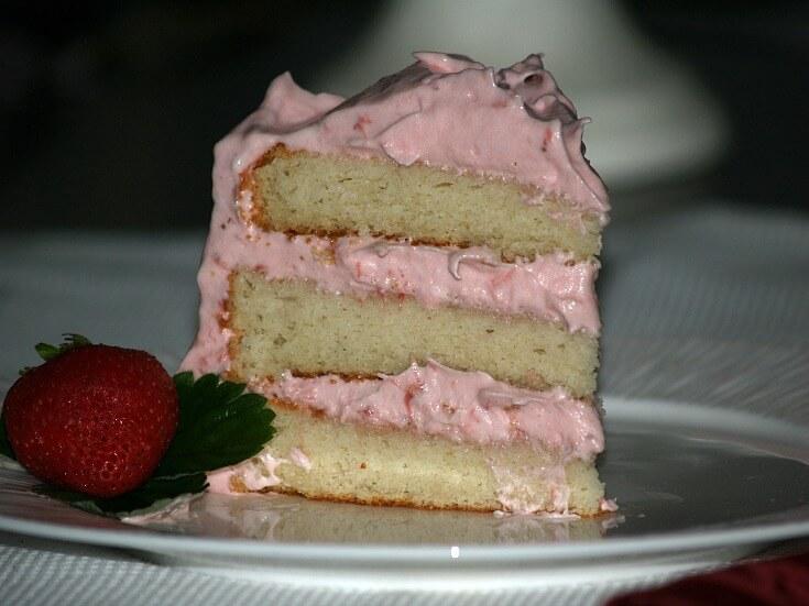 Moist White Strawberry Cake Piece